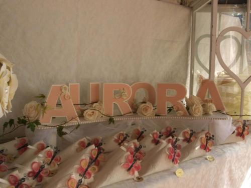 Allestimento confettata con lettere tridimensionali handmade